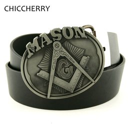 Wholesale Men s Black PU Leather Belt Mason Metal Bi Buckles Western Cowboy Fivela Cintos Masculinos De Couro For Men Jeans Gifts