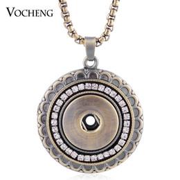 Interchangeable snap jewelry wholesalers online shopping - Vocheng Snap Button Bronze Pendant Necklace Inlaid Crystal mm Interchangeable Jewelry Nn