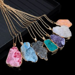 Discount naturals crystal stone - New Chokers Natural Crystal Quartz Healing Point Chakra Bead Gemstone Necklace original Stone Pendant Necklaces Fashion