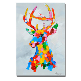 $enCountryForm.capitalKeyWord Australia - Free shipping hand painted cartoon animal deer picture knife oil painting in high quaity decorative wall painting