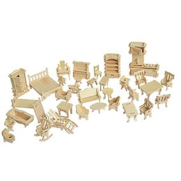 Toy Furniture Wholesale NZ - 34 Pcs Set Miniature 1:12 Dollhouse Furniture for Dolls,Mini 3D Wooden Puzzle DIY Building Model Toys for Children Gift