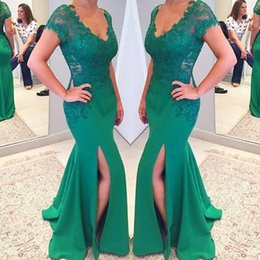 Barato Vestidos Curtos Elegantes Novos-Elegant Short Sleeves V Neck Mermaid Prom Dresses 2017 New Lace Appliques Sexy Side Split Evening Dresses Vestido formal Party Vestidos