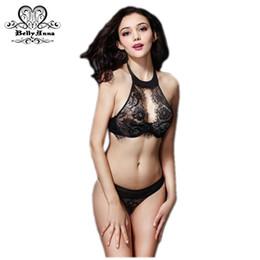 5cd46bf3de Wholesale-BellyAnna 2016 Summer New Sexy Lingerie Victoria Women Cutout Lace  Underwear Set High-Neck Halter See Through Bras And Thong Set