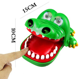 Crocodiles Alligator Toys Australia - Wholesale- 15cm Funny Crocodile Mouth Dentist Bite Finger Game Toy Kids Alligator Roulette Game (Color: Green)