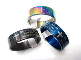 Bulk Mix Jewelry NZ - wholesale bulk lots 1000pcs mixed colors English Lord's Prayer Stainless Steel Polished Band Jewelry Rings Brand New