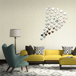 Wonderful Living Room TV Backdrop Decoration Stickers 3D Stereo Environmentally  Combination Heart Shaped Mirror New 2016 European And American Part 15