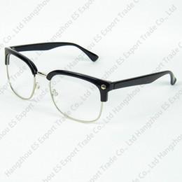 metal shopping 2019 - Glasses Shop Half Metal Frame Eyeglasses Frame With Clear Lenses Optical Frame Retro Unisex Designer 3 Colors discount m