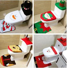 Discount cloth seats New Year Best Gift Happy Christmas Santa 4 Styles Toilet Seat Cover & Rug Bathroom Set Christmas Decorations