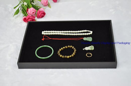 """Wooden Ring Display Cases Canada - 14"""" Jewelry display flat tray holder cradle in black velvet for beads necklace rings earrings storage case 4pcs lot"""