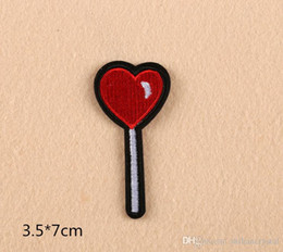 Wholesale Heart Shape Candy embroidered patches for sewing Bag clothing patches iron on sewing accessories applique