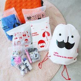 $enCountryForm.capitalKeyWord Australia - 8Pcs Set Cute beard, a travel package, waterproof PVC sorting and sorting out the bag, backpack Free Shipping