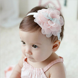 Korean Baby Flowers Canada - Baby Headbands Korean Flowers Chiffon Lace Elastic Headbands Kids Girls Hairbands Children Hair Accessories Princess Headdress KHA274