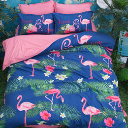$enCountryForm.capitalKeyWord Australia - Cartoon Pink Blue Flamingo Bird Printing Bedding Sets Twin Full Queen King Size Fabric Cotton Duvet Covers Pillow Shams Comforter Animal