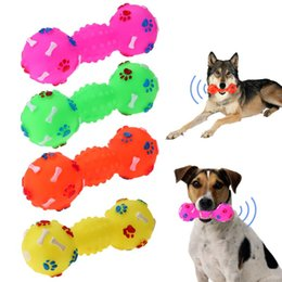 $enCountryForm.capitalKeyWord Australia - Pet Chew Toy Puppy Dog Anti Bite Squeaker Squeaky Sound Dotted Dumbbell Shaped Dog Toy Pet Supplies