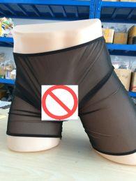 Men Sheer Boxer Canada - New Sexy Transparent Boxer Briefs Men See Through Sheer Black Erotic Lingerie Unisex Thin Pantyhose Underwear Boxer Trunks FX6