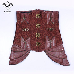 35df57ba81a Brown Steampunk Underbust Corset Canada - Brown Steampunk Corset Women s  Bustiers   Corsets Faux Leather Gothic