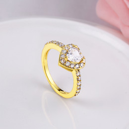 Discount pandora gold 18k - Fashion K Gold Zircon Ring Women Gold   White Gold Rings Heart Shape Bridal Wedding Rings Wedding Bands Pandora Ring Jew