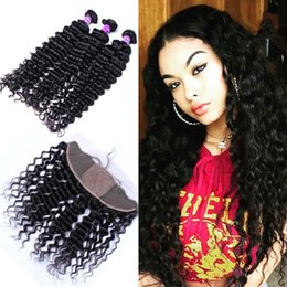 deep curly silk frontal UK - Virgin Indian Deep Curly Hair Weaves With Silk Base Lace Frontal 13x4 Deep Curly Silk Top Lace Frontals With Virgin Human Hair 3Bundles