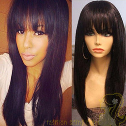 human hair lace wigs full fringe NZ - Peruvian Human Hair Full Fringe Wig Human Hair Glueless Full Lace Wig With Bangs Bleached Knots For Black Women