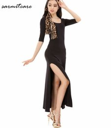 Latin Dance Costumes Woman Canada - D102 - 1 2 Sleeve Right Side Slashed Hem Black Long Women Latin Dance Dress Samba Dance Costumes Tango Salsa Dress Samba Costume