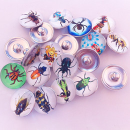 insect jewelry 2021 - 30pcs lot Mix Colors Fashion Glass Dome Insects Noosa Chunks Metal Ginger Bee Beetle 18mm snap buttons for diy bracelet