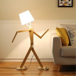 rustic creative wooden human floor lamp lampshades classical floor standing lights for bedside living rooms wood lights