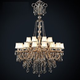 Art Church Australia - Led Antique Hotel church chandelier crystal lighting vintage black smoke crystal chandelier with lampshade large foyer pendant light lustres