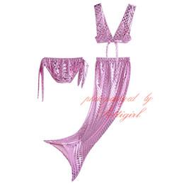 LittLe girLs two piece suits online shopping - 5 Colors Cute Little Mermaid Tail Swimwear Sexy Halter Bikini Set Girls Summer Bathing Suit NBSR90506