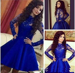 summer long dresses for teens NZ - 2018 Vintage Short Royal Blue A-line Homecoming Dresses Illusion long Sleeves Prom Dresses for Teens Formal Dresses Gowns