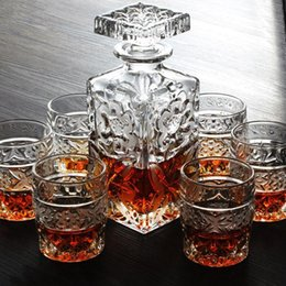wine set crystal glass cup wine decanter cup set whisky cup bottle wine sets creative gift - Whisky Decanter