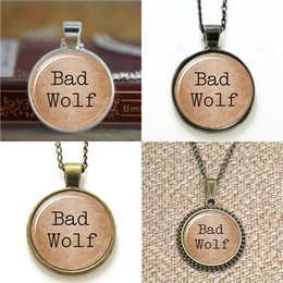 Bad alloys online shopping - 10pcs Doctor Who Inspired Bad Wolf glass Dome Pendant Necklace keyring bookmark cufflink earring bracelet