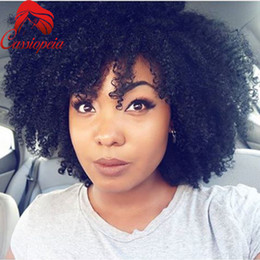 $enCountryForm.capitalKeyWord Canada - Malaysian Virgin Human Hair Afro Kinky Curly Short Lace Front Hair With Natural Hairline 8A Grade Glueless Full Lace Wigs For Black Women