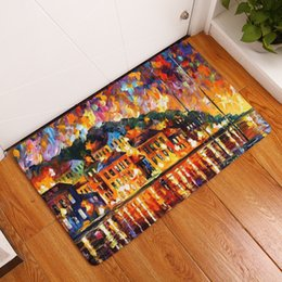 Painted Floor Mats Canada - 2017 New Home Decor Anti-Slip Carpets Oil Painting Scenery Pattern Mats Bathroom Livingroom Floor Kitchen Rugs 40X60 50X80cm