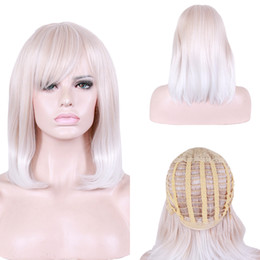 $enCountryForm.capitalKeyWord NZ - Women Medium Short Straight Synthetic Wig Daily Ladies Light Gold Beige BOBO Heat Resistant Cosplay Wigs High Quality Hair Caps with Bang