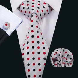 classic silk NZ - Classic Silk Mens Neckties White Tie Sets Dot Mens Ties Tie Hanky Cufflinks Jacquard Woven Meeting Business Wedding Party Gift N-1492