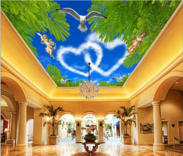 Vintage Woven Wallpaper Canada - 3d wallpaper custom photo non-woven mural picture Romantic love sky ceiling murals decoration painting 3d wall room murals wallpaper
