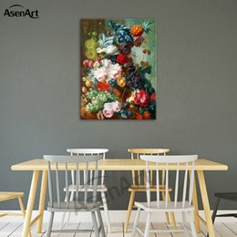 american canvas print Australia - Fruit and Flowers Painting Printed on Canvas European and American Style Realistic Picture for Home Decal Wall Art