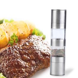 2 em 1 Manual de Aço Inoxidável Sal Cozinha e Pimenta Moinho Moedor Muller 22 cm Frete Grátis em Promoção