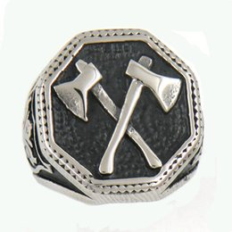 Chinese  Custom made stainless steel vintage mens or wemens jewelry SHIELD FLEU DE LIS HEXAGON CROSS AXE RING TOOL RING 13W47 manufacturers