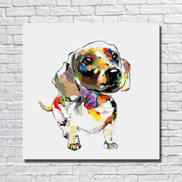 Cheap Decorative Canvas UK - High qualiity home goods oil painting by hand painted cartoon animal dog oil painting decorative design cheap modern paintings