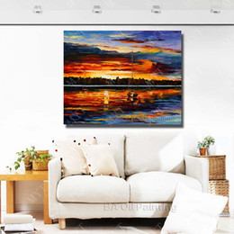 $enCountryForm.capitalKeyWord Canada - Modern Wall Decor Sunset Landscape Painting Hand painted Decoration Oil Painting Large Modern Canvas Art No Framed