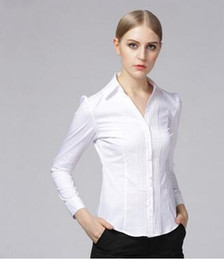 Barato Camisas Femininas Mangas Grandes-2016 New Ladies Mulheres V-Neck Blusas Business Wear Mulheres manga comprida White Shirt Yards Grande Was Thin Tops