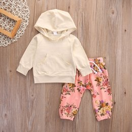 Wholesale 2016 fashion baby girl suits Toddler Girls Long Sleeve T shirt jacket cute flower Pants children Outfits Hooded cotton Clothes top Set
