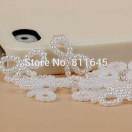 Free Shipping 1000Pcs lot 10x18mm White Imitation Pearls Bowknot Shape  Beads Wedding Cards Embellishments DIY Decoration 52f15439f711