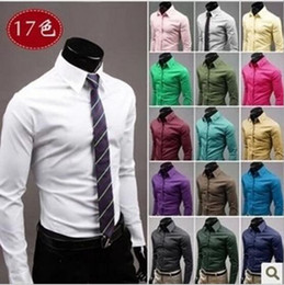 Barato Clássico Vestidos Longos Casual-Camisas de Vestir Clássico Single-breasted Long Sleeve Casual Men Vestuário Plus tamanho Candy cores Slim shirts Camisas de negócios camisas de homens t