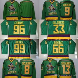 ... Anaheim Ducks Throwback Movie Green 1993 Ice Hockey Jerseys CONWAY96  KARIYA9 BANKS99 GOLDBERG33 BOMBAY66 SELANNE8 13 ... 706f630c8