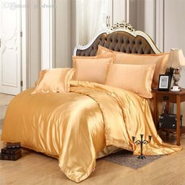 luxury pure satin solid silk bedding set golden home textile king queen size cover flat sheet pillowcases