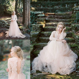 2020 Country Blush Pink Wedding Dresses Lace Appliques Long Sleeves Illusion Hollow Back Tulle Sweep Train Bohemian Plus Size Bridal Gowns
