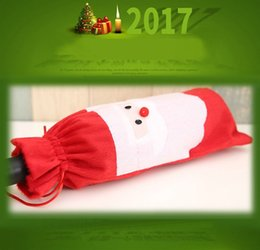 Christmas Tables Canada - 2017 12lot Hot sale Christmas gift bag Merry Xmas Santa Claus Wine Bottle Cover Christmas Dinner Party Table Decor Red free shipping