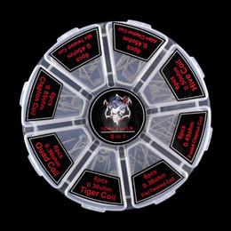 Vente en gros Demon Killer Prebuilt bobine Kit 8 en 1 Quad Hive Twisted plat fondu Clapton bobine coton biologique fit atomiseur 48 pcs une boîte